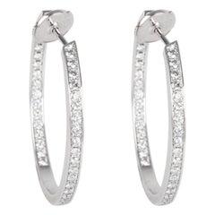 Cartier Diamond Hoop Earring in 18 Karat White Gold 1.78 Carat