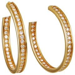Cartier Diamond Yellow Gold Torqued Hoop Earrings