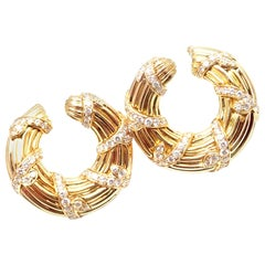 Cartier Diamond Hoop Yellow Gold Earrings
