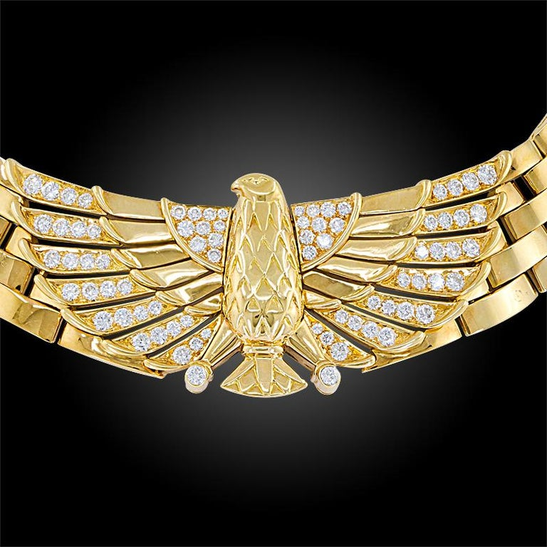 18k yellow gold Horus necklace, set with brilliant-cut diamonds, the inner circumference is approx. 15 inches, signed Cartier.