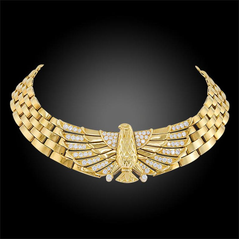Cartier Diamond Horus Gold Necklace In Good Condition In New York, NY