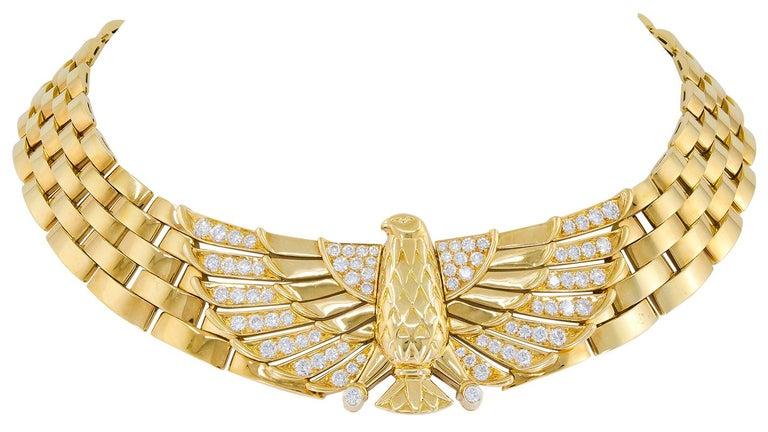 Women's or Men's Cartier Diamond Horus Gold Necklace