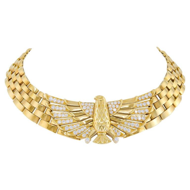 Cartier Diamond Horus Gold Necklace
