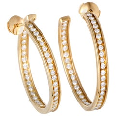 Cartier Diamond Inside Out Yellow Gold Large Hoop Earrings