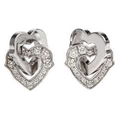 Cartier Diamond Interlocking Heart 18 Karat Gold Earrings