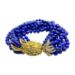Cartier Diamond & Lapis Bead Pineapple Torsade Bracelet