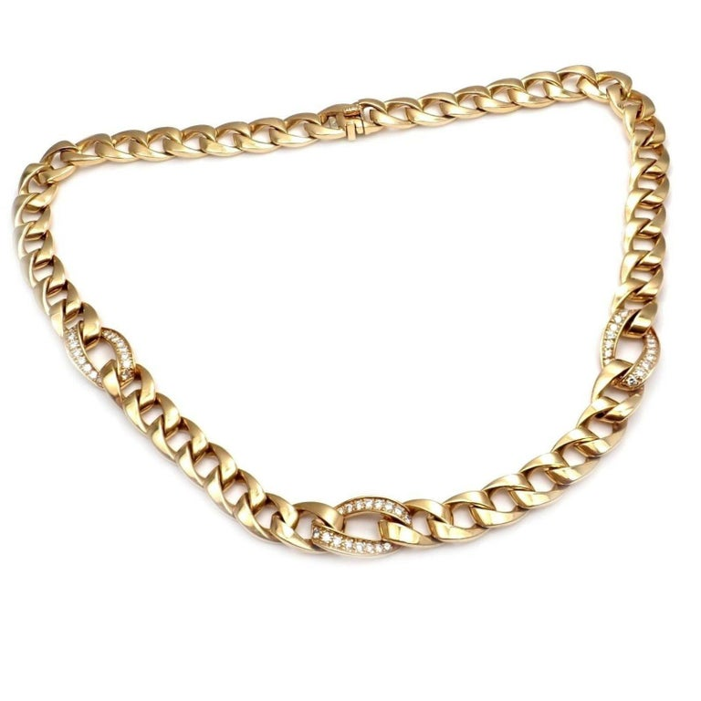 18k Yellow Gold Diamond Link Chain Necklace by Cartier.  With 48 round brilliant cut diamonds VVS1 clarity, E color total weight approx. 1.50ct Details:  Length: 16.5