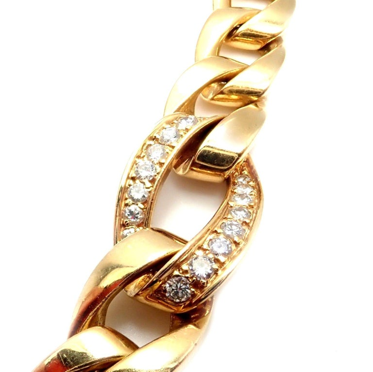 Women's or Men's Cartier Diamond Link Yellow Gold Chain Necklace For Sale