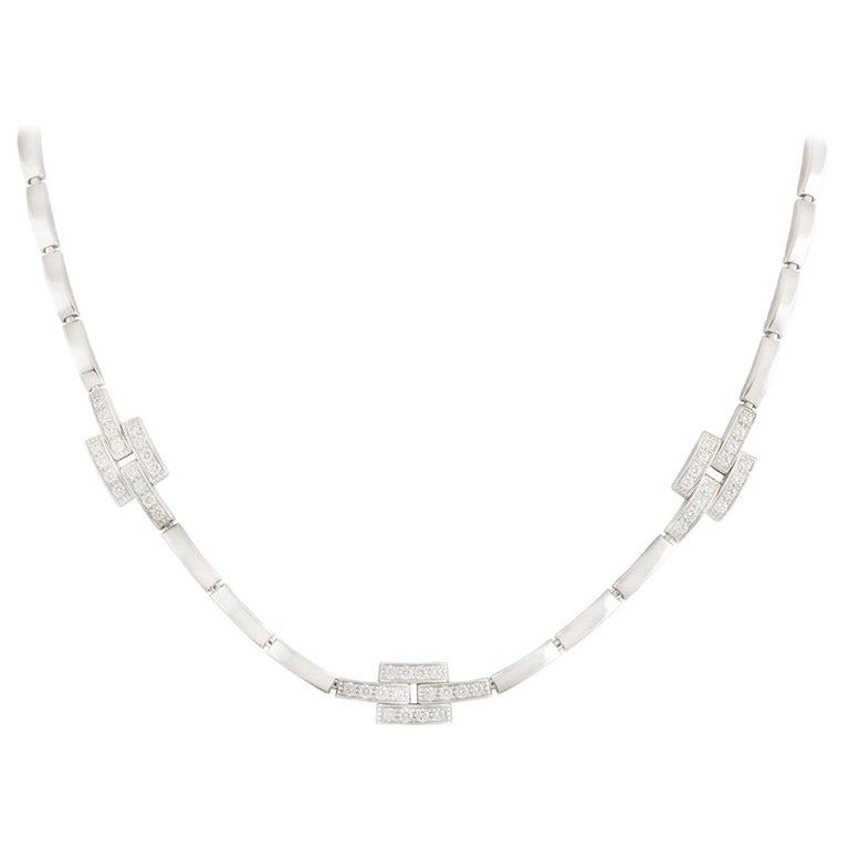 Cartier Diamond Maillon Panthere Links and Chain Collection Necklace 0.82 Carat For Sale