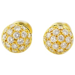Cartier Diamond 18 Karat Yellow Gold Mimi Ball Studs Earrings