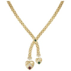 Cartier Diamond and Multi-Gem Two Heart Necklace