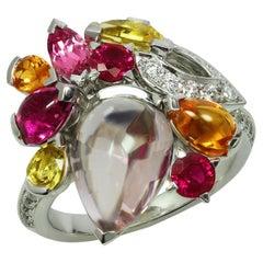 Cartier Diamond Multicolor Gemstone White Gold Ring