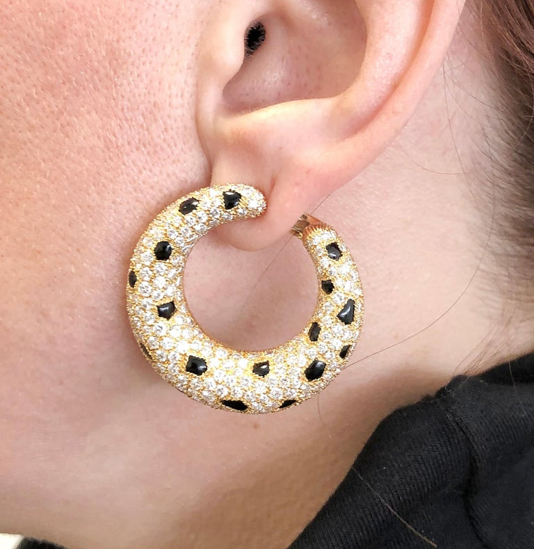 Round Cut Cartier Diamond, Onyx Panther Earrings For Sale