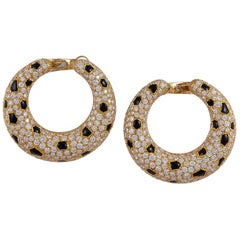 Cartier Panthere Vintage Diamond Hoop Earrings