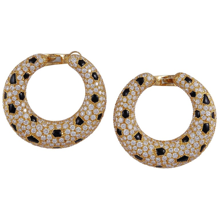 Cartier Diamond, Onyx Panther Earrings For Sale