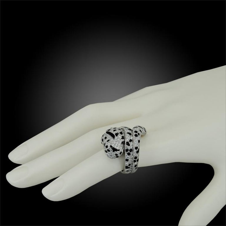 CARTIER Panthere Diamond Onyx Coil Ring In Good Condition For Sale In New York, NY