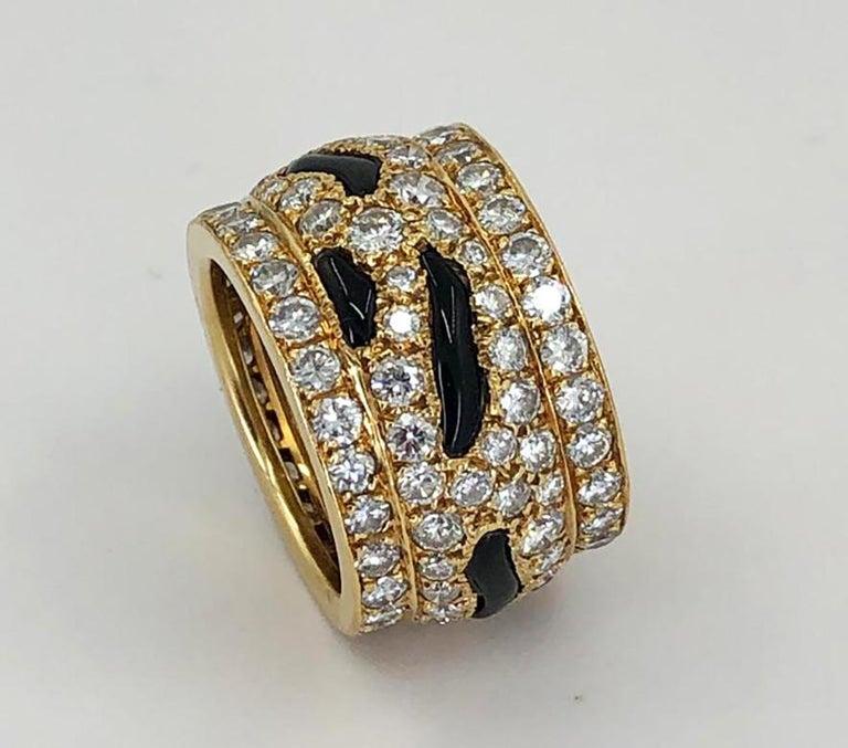 Women's Cartier Diamond Onyx Ring For Sale