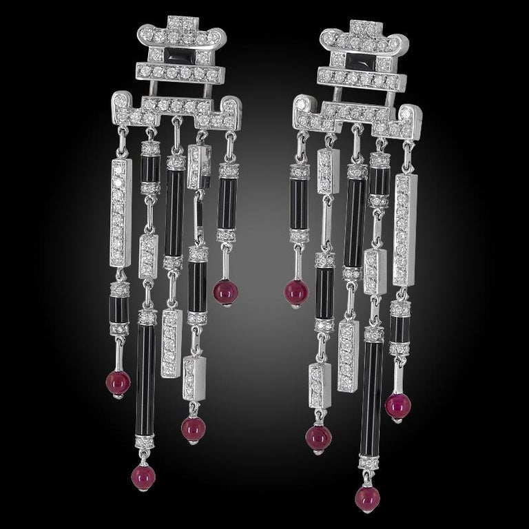 Cartier Diamond Onyx Ruby Deco Earrings In Good Condition For Sale In New York, NY
