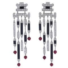Cartier Diamond Onyx White Gold Ruby Fringe Earrings