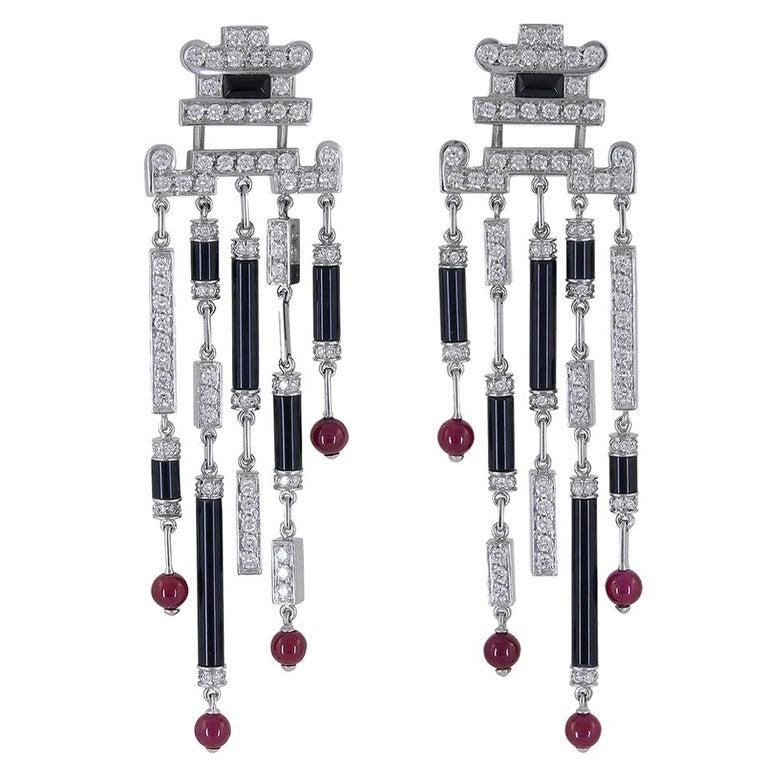 Cartier Diamond Onyx Ruby Deco Earrings For Sale