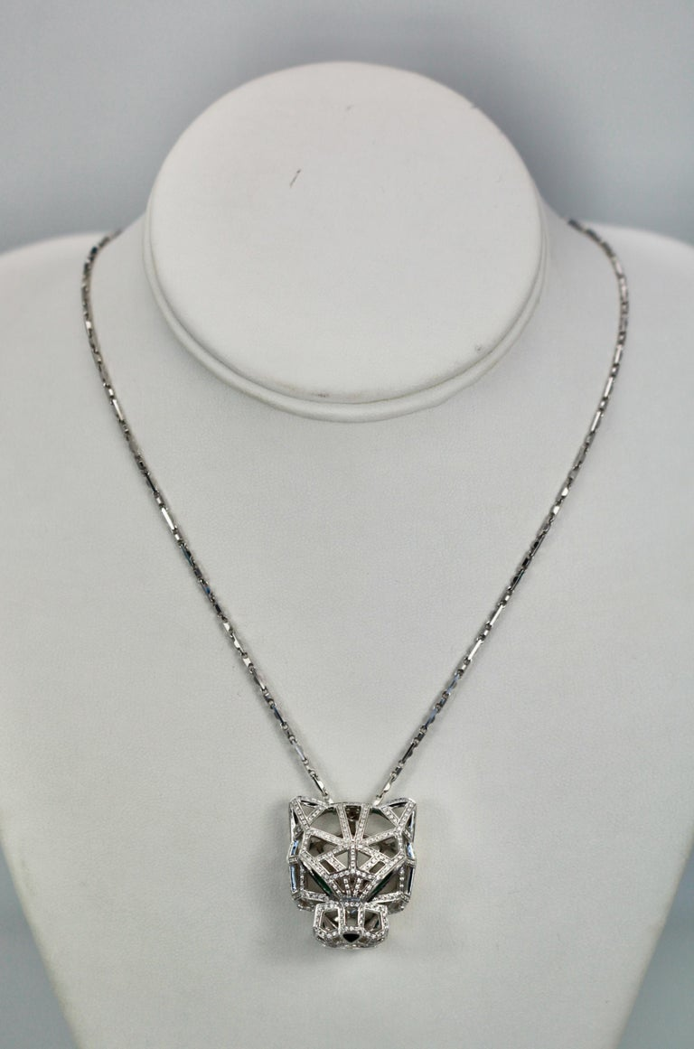 Cartier Diamond Open Panthere Pendant/Necklace For Sale 3