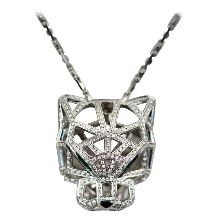 Cartier Diamond Open Panthere Pendant/Necklace For Sale