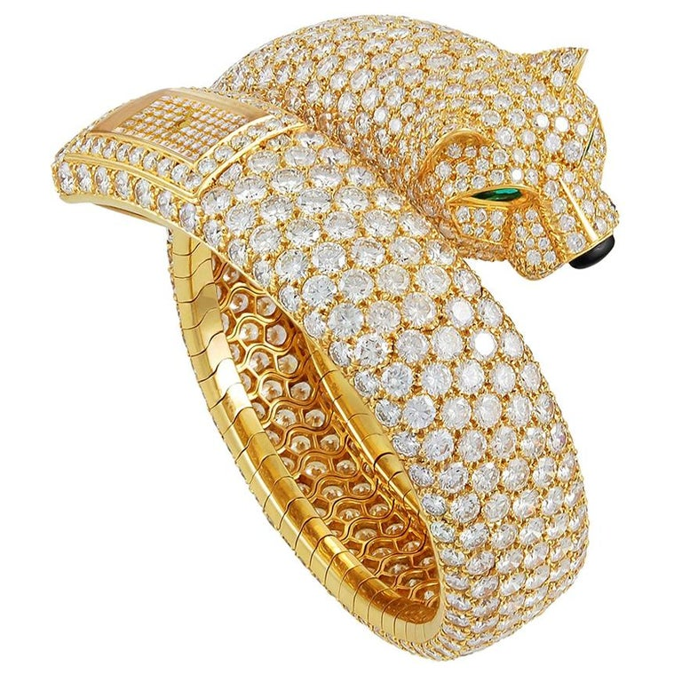 Cartier Diamond Panther Cuff Bangle Watch For Sale