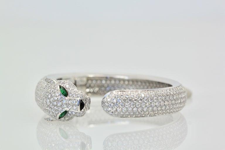 Cartier Diamond Panthere Bracelet 15.74 Carat For Sale 4