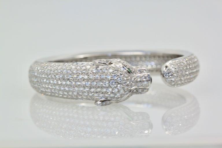 Modern Cartier Diamond Panthere Bracelet 15.74 Carat For Sale