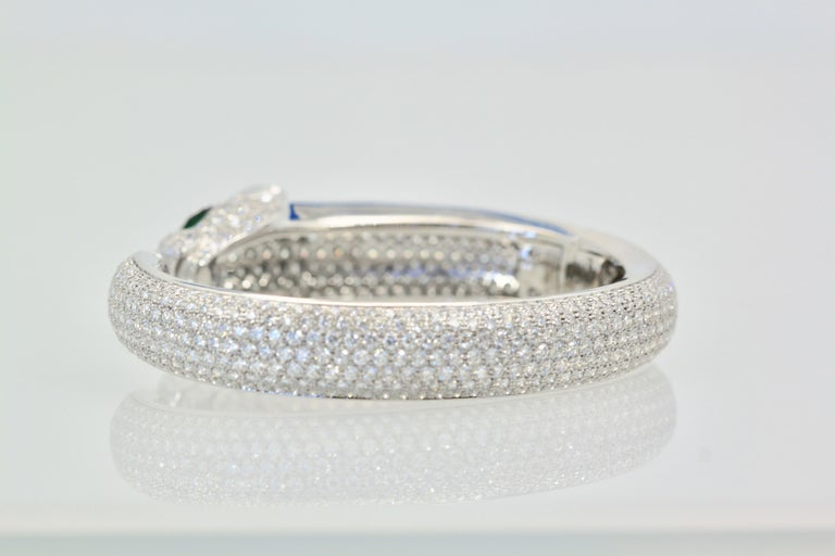 Round Cut Cartier Diamond Panthere Bracelet 15.74 Carat For Sale