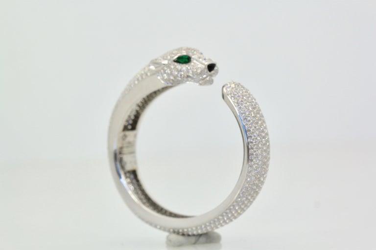 Women's Cartier Diamond Panthere Bracelet 15.74 Carat For Sale