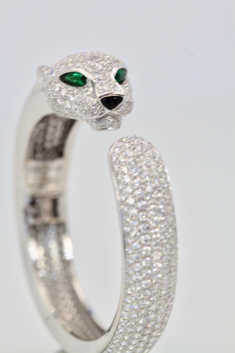 Cartier Diamond Panthere Bracelet 15.74 Carat For Sale 2