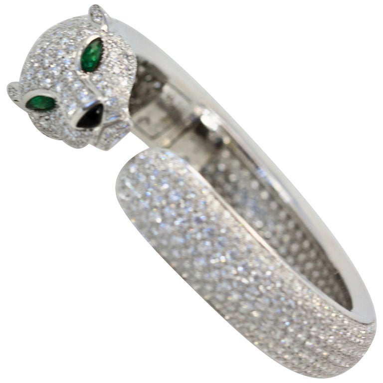 Cartier Diamond Panthere Bracelet 15.74 Carat For Sale