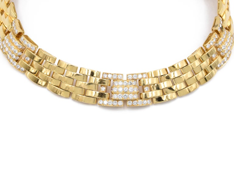 Artist Cartier Diamond Panthere Maillon Necklace For Sale