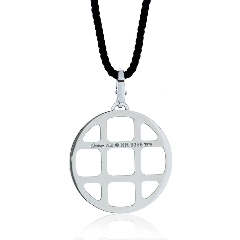 Round Cut Cartier Diamond Pasha Pendant Necklace in 18kwg W/ Certificate of Authenticity For Sale