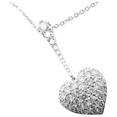 Cartier Diamond Pave Heart Platinum Pendant Necklace