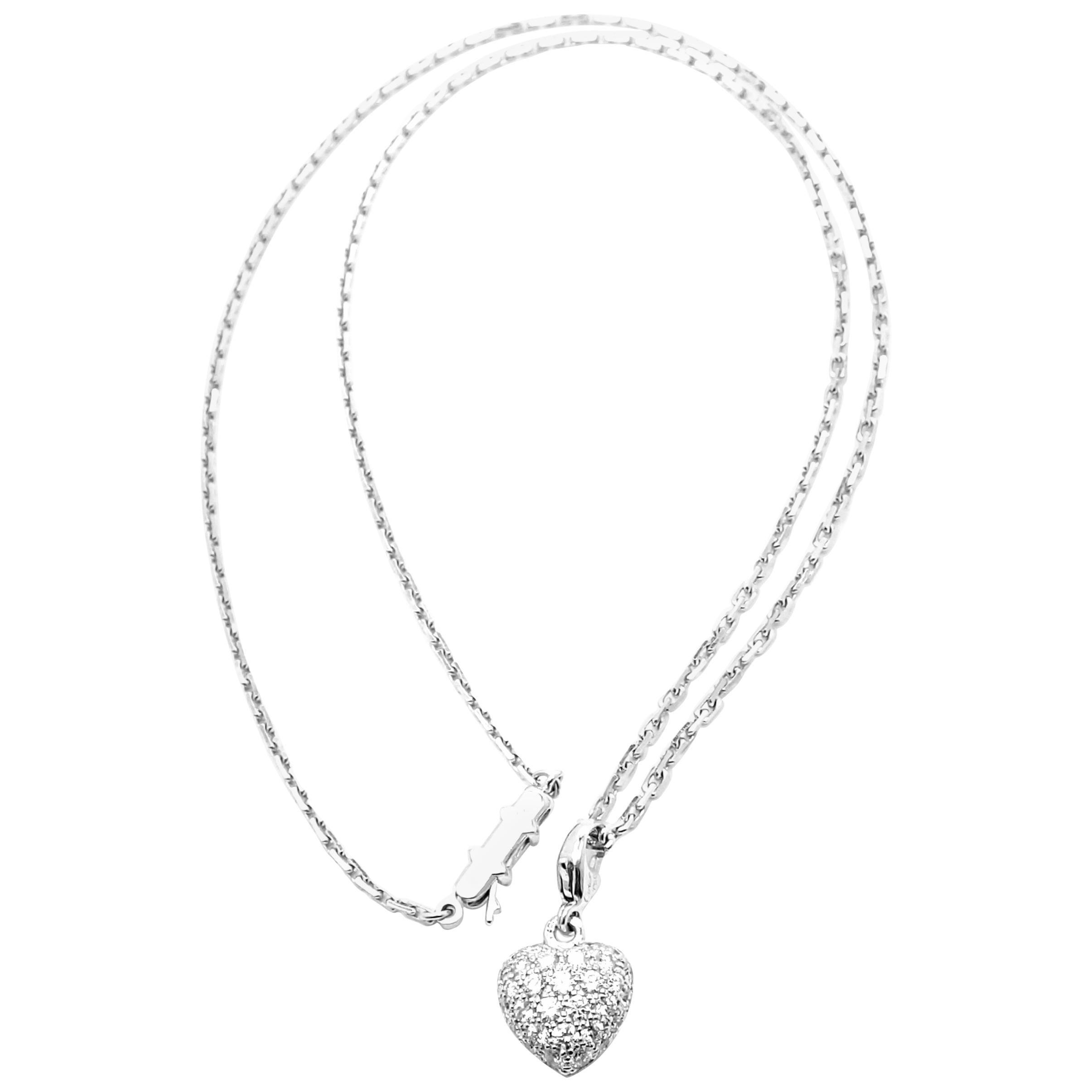 Cartier Diamond Pave Heart White Gold Pendant Necklace
