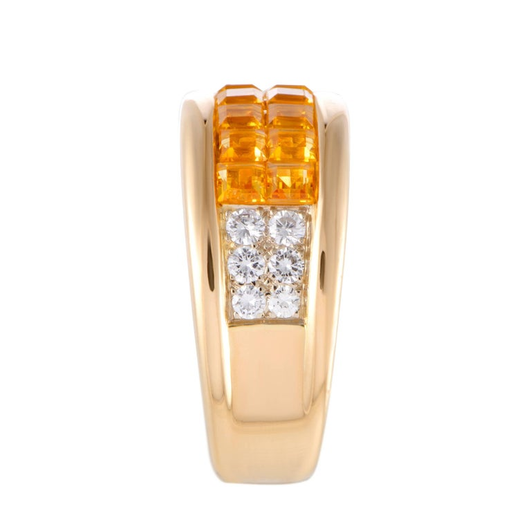 Cartier Diamond Pave Invisible Set Yellow Sapphire Gold Band Ring In Excellent Condition For Sale In Southhampton, PA