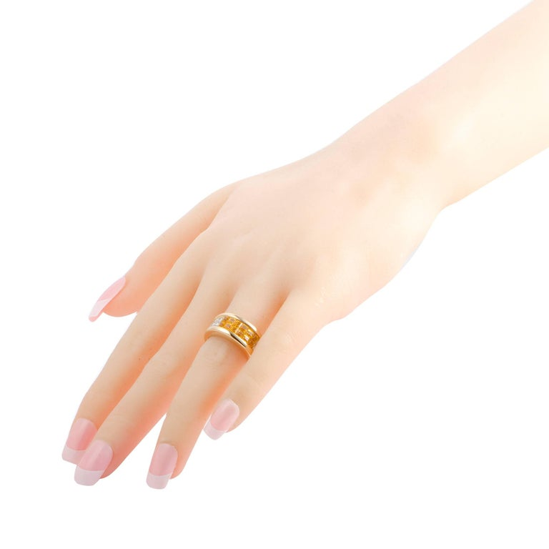 Women's Cartier Diamond Pave Invisible Set Yellow Sapphire Gold Band Ring For Sale