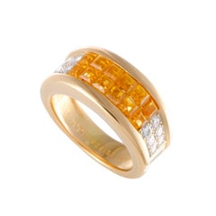 Cartier Diamond Pave Invisible Set Yellow Sapphire Gold Band Ring