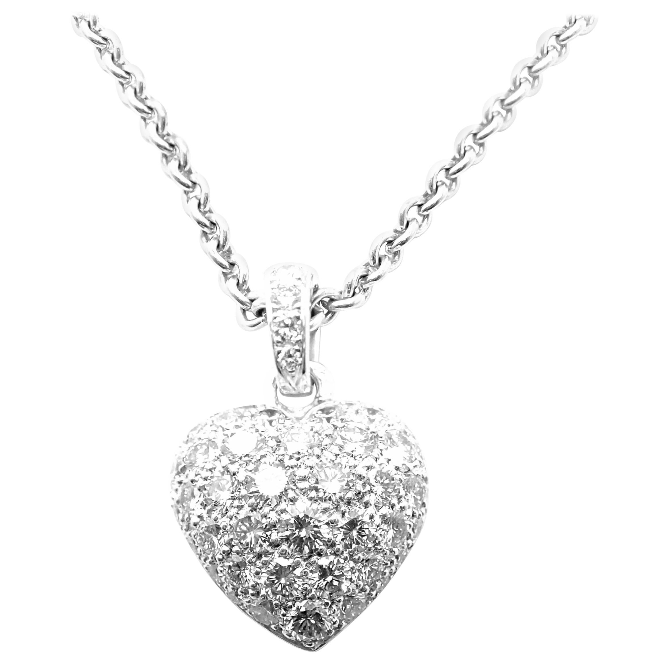 Cartier Diamond Pave Large Heart White Gold Pendant Necklace