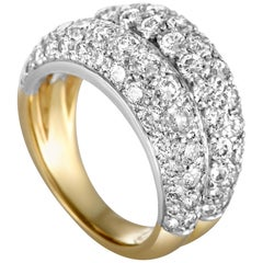 Cartier Diamond Pave Yellow and White Gold Band Ring