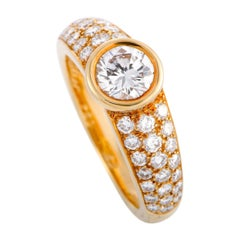 Cartier Diamond Pave Yellow Gold Engagement Ring