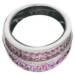 Cartier Diamond Pink Sapphire 18 Karat White Gold Ring