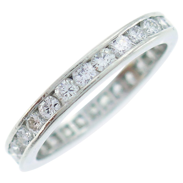 Cartier Diamond Platinum Eternity Band Ring For Sale