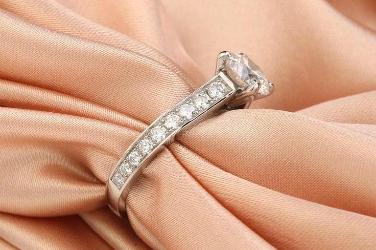 Brilliant Cut Cartier Diamond Platinum Solitaire Engagement Ring For Sale