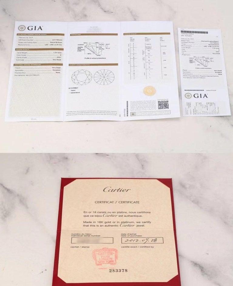 Cartier Diamond Platinum Solitaire Engagement Ring For Sale 1