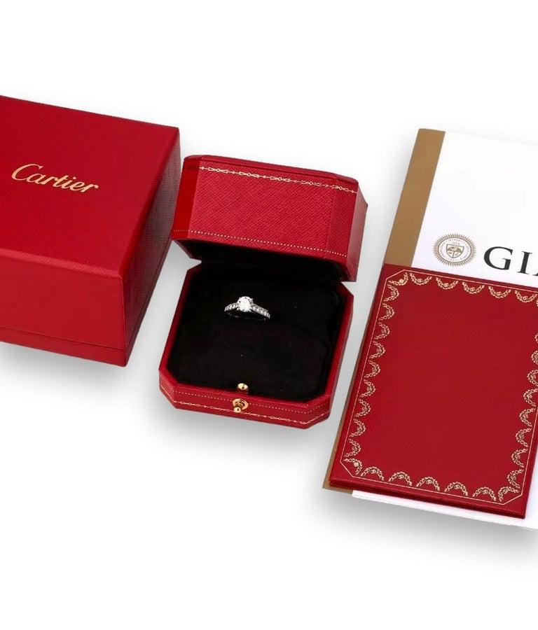 Cartier Diamond Platinum Solitaire Engagement Ring For Sale 2