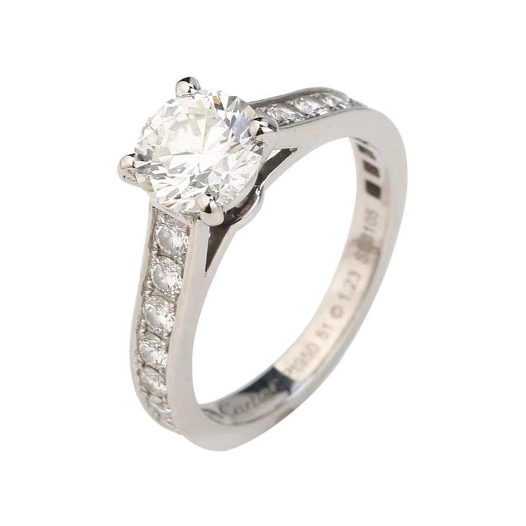 Cartier Diamond Platinum Solitaire Engagement Ring For Sale