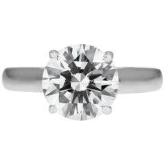 Cartier Diamantring, GIA Zertifizierter Solitär Einzelstein 2.43 Karat F VVS1